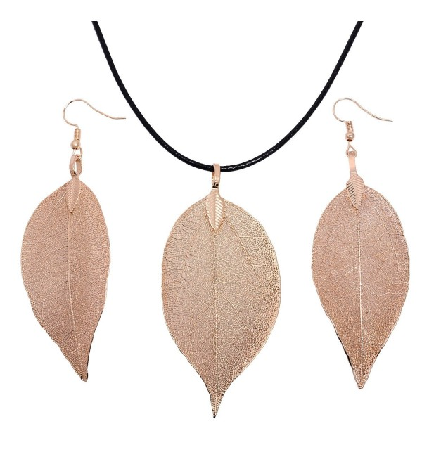 Casfine Real Natural Filigree Leaf Long Pendant Necklace Trendy Bohemian Jewelry for Women - Gold set - CP187W9326O