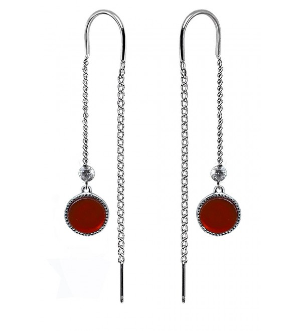 Long Chain Gold Plated 925 Sterling Silver Fashion Earrings for Women by Politeny - Red - CG180K380LM