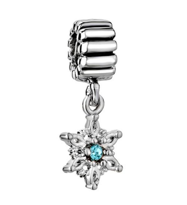 Christmas Snowflake Blue Crystal Birthstone Jewelry Bead Fits Pandora Charm Bracelets - C611RB3LRB7