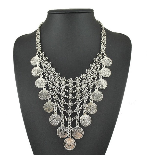 JoJo & Lin Vintage Boho India Exaggerated Coins Antique Silver Statement Necklace for Women - CG1280VYQKR