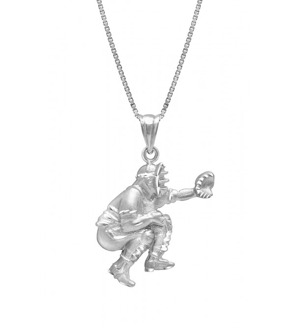 "Sterling Silver Baseball Back Catcher Necklace Pendant with 18"" Box Chain - CK119FNSLUB"