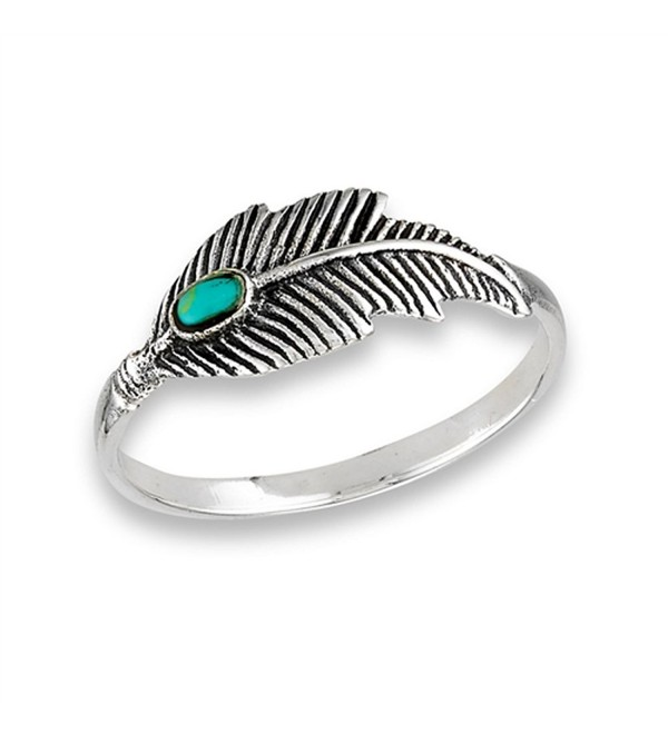 Simulated Turquoise Oxidized Feather Ring .925 Sterling Silver Tree Leaf Band Sizes 6-10 - CD182STACQ7