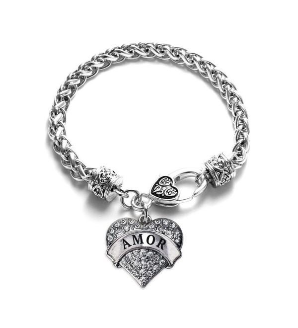 Amor 1 Carat Classic Silver Plated Heart Clear Crystal Charm Bracelet Jewelry - C411VDKSE97