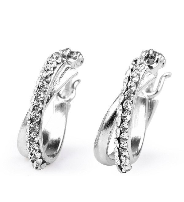 Sterling Silver White Crystal Simulated Diamond Two Layer Unique Hoop Earrings - CR12KJNAEVN