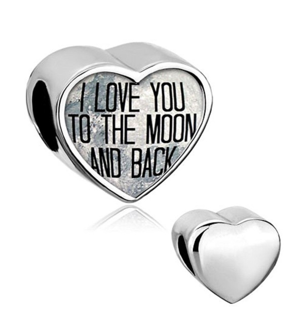 Q&Locket Heart Bear Mom I Love You To The Moon &Back Charm Photo Beads For Bracelet - CV12N3A8YHT