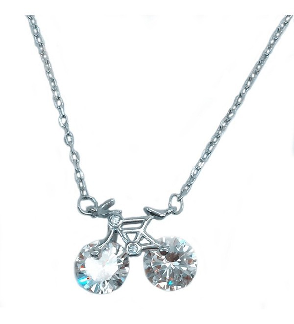 Helen de Lete Rhinestone Bike Sterling Silver Necklace - CE12H11QSYJ