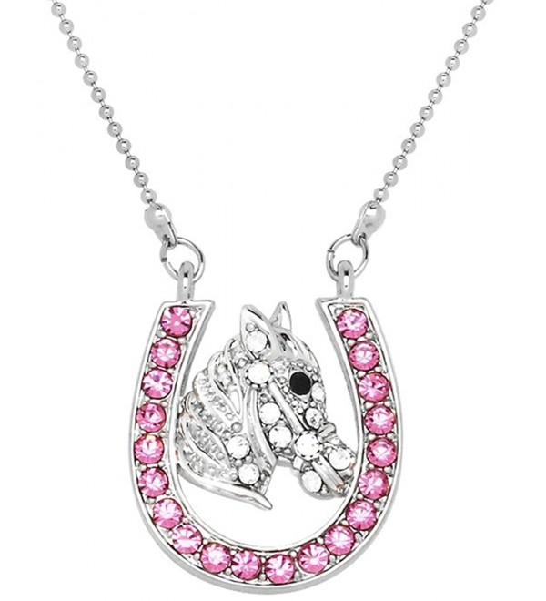 Lucky Horseshoe and Horse/Pony Silver Tone Necklace Choose Pink- Multicolor or Clear Crystals - CU17YKX3E2Q