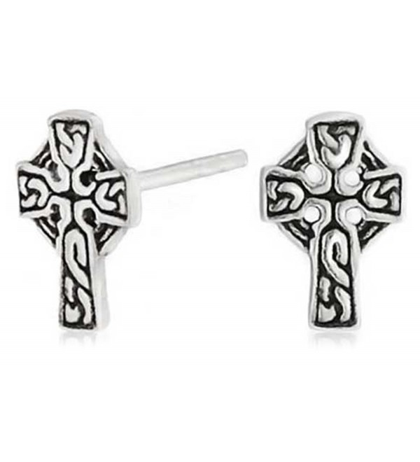 Bling Jewelry Celtic Cross Stud earrings 925 Sterling Silver 9mm - CW11EPIY7T5