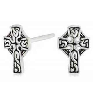 Bling Jewelry Celtic Cross Stud earrings 925 Sterling Silver 9mm - CW11EPIY7T5