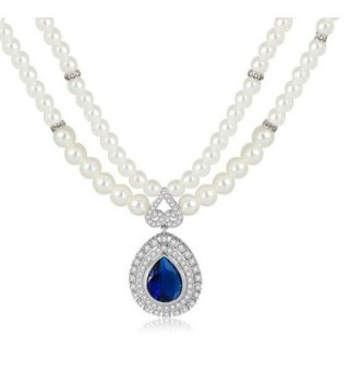 Statement Pearl Chain with Waterdrop CZ Pendant Necklaces Personalized Gifts - Blue - C312G9FCOIR