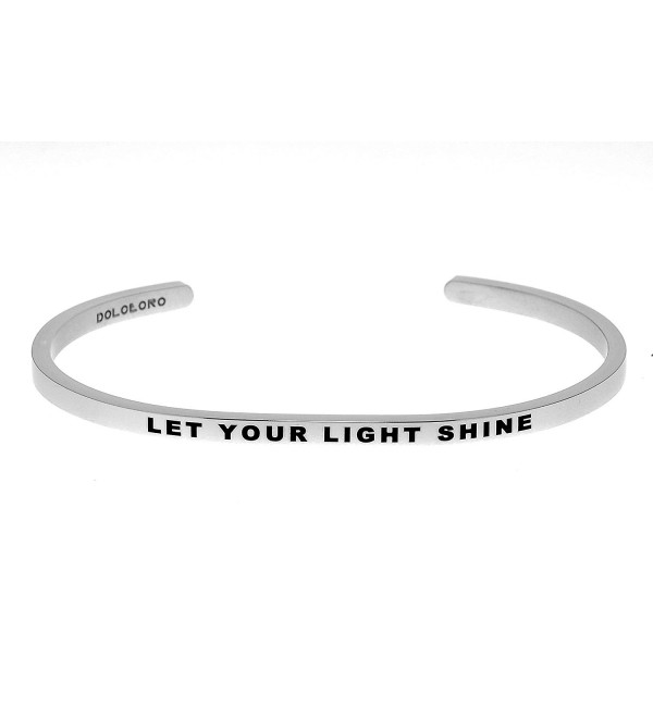 Mantra Phrase: LET YOUR LIGHT SHINE - 316L Surgical Steel Cuff Band - C412N4PEQL3