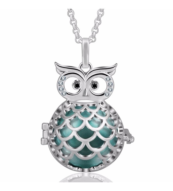"EUDORA Harmony Ball Wise Owl 20mm Pendant Pregnancy Long Necklace Mexico Bola Chime 45"" Chain - Seagreen - CC186S9GWA7"