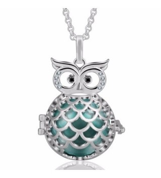 """EUDORA Harmony Ball Wise Owl 20mm Pendant Pregnancy Long Necklace Mexico Bola Chime 45"""" Chain - Seagreen - CC186S9GWA7"""