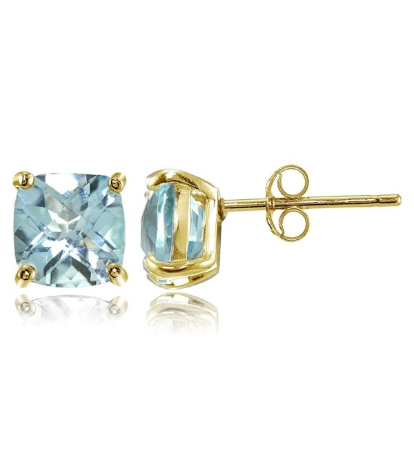 Sterling Silver 7mm Cushion-Cut Gemstones Stud Earrings- Choice of Colors - Blue Topaz-Gold Flashed Silver - CI182W7732D