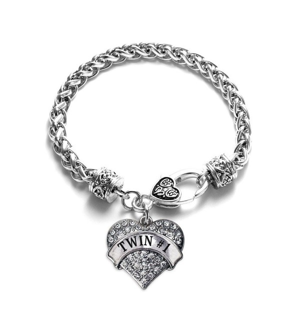 Twin 1 1 Carat Classic Silver Plated Heart Clear Crystal Charm Bracelet Jewelry - CZ11VDKORDT