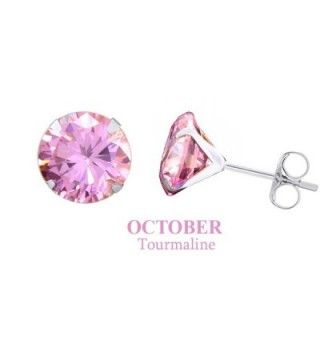 10K Solid White Gold 3mm Round Cut Simulated Gemstone Stud Earrings - Simulated-Tourmaline - CL12MAHPGPI