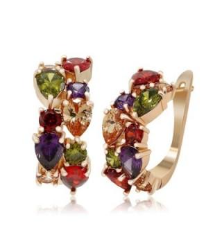 Kemstone Gold Plated Cz Crystal Hoop Earrings Women Fashion Jewelry - C612G9GNMRX