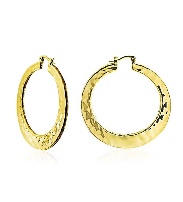 Bling Jewelry High Polished Gold Plated Brass Large Hammered Hoop Earrings 2in - CZ11CZFTEW5