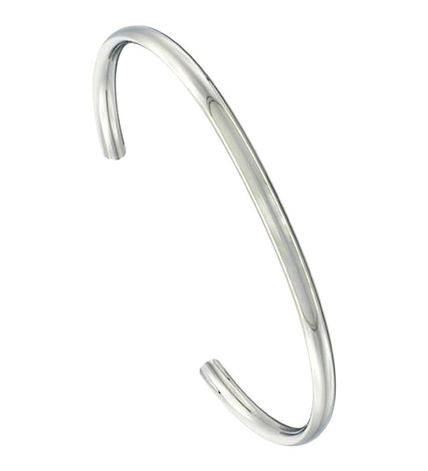 Stainless Steel Cuff Bracelet Domed Highly Polished Comfort-fit 3/16 inch wide- 7 inch - CD118WI3SZX