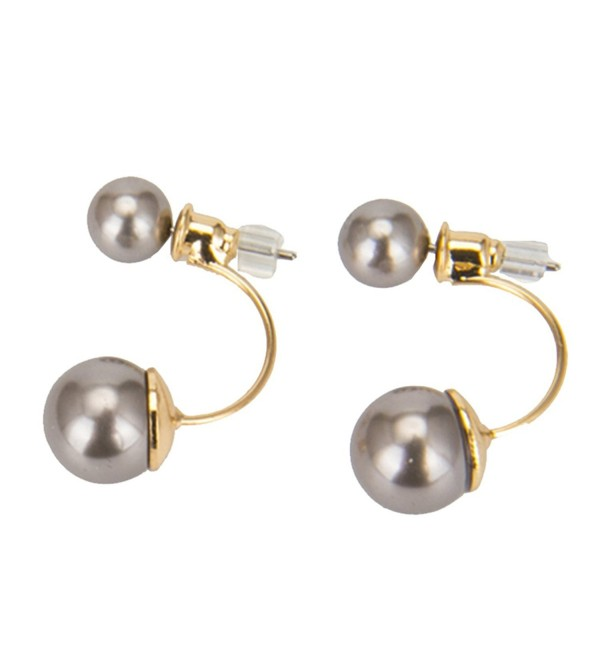 Double Ball Earrings Ear Jacket Pearl Earrings Classic Pearl Stud Earrings Two Grey Round Pearl - C0184E5NUGX