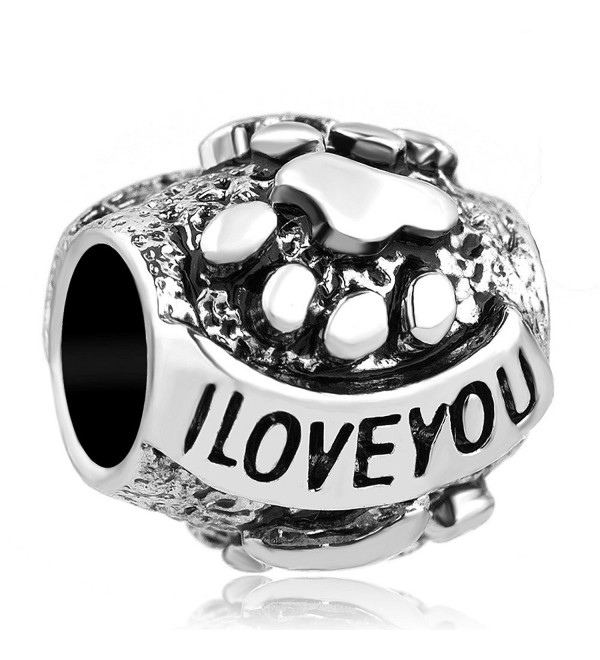 Q&Locket I Love You Dog Paw Print European Bead For Bracelet - CF12MXZC39C