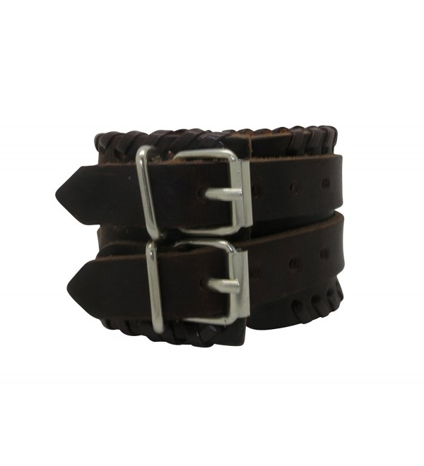 Wide Brown Leather Strap Buckle Adjustable Cuff Bracelet - CF11YL7JE61