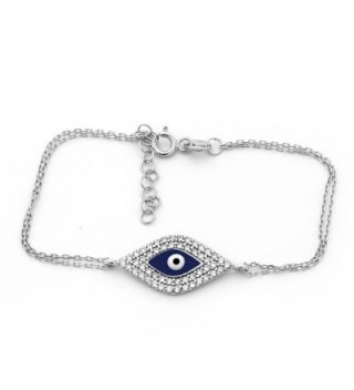 Solid Sterling Silver Rhodium Plated Cubic Zirconia Evil Eye Bracelet - C011JUZ3UH3