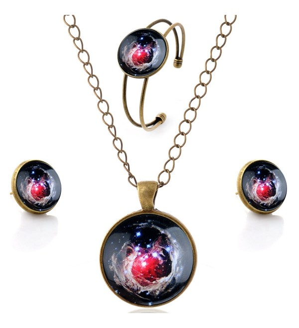 lureme Time Gem Series Simple Vintage Style Pendant Necklace Stud Earrings Bangle Jewelry Sets(SET001) - CU12FO6R4MD