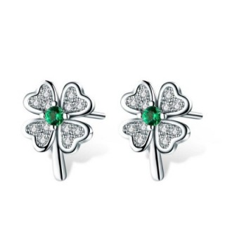 T400 Jewelers 925 Sterling Silver Four Leaf Clover Stud Earrings Made with Emerald Cubic Zirconia Luky Gift - CY186L23678
