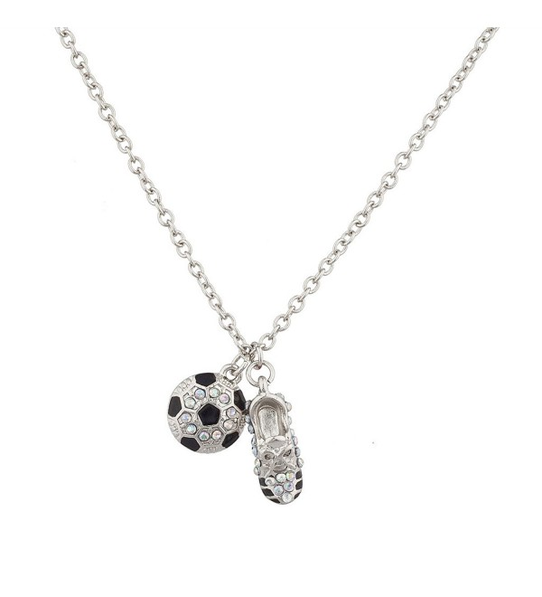 Lux Accessories Soccer Ball and Sneaker Sports Charm Necklace - CJ12F780TST