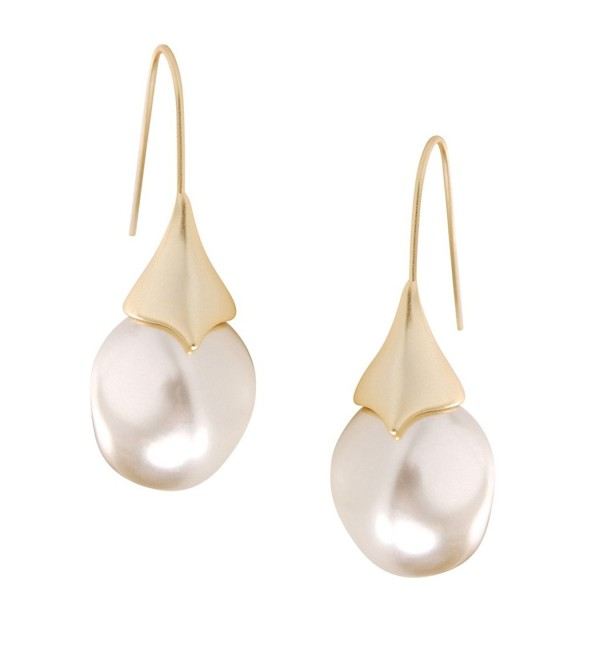 Humble Chic Teardrop Simulated Pearl Dangles - Oval-Shaped Hanging Bead Threader Drop Earrings - Gold-Tone - C91885T7UDY