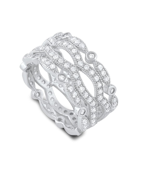 Sterling Silver Cz Wide Stacked Statement Ring (Size 4 - 9) - C512D1W1ZZJ