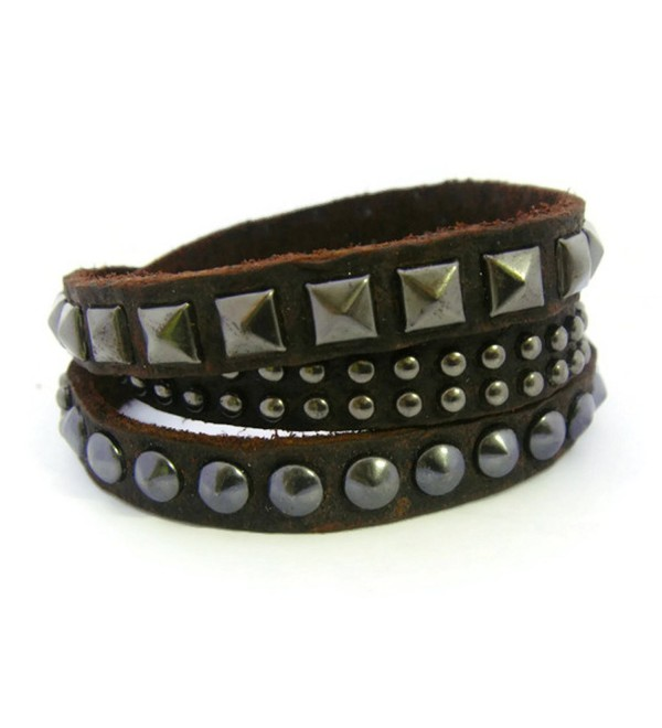 APECTO Quality Rock Dark Chocolate Leather Wristband Cuff Bracelet- Bangle Leather Bracelet- SR9 - C5125Q1MPW5