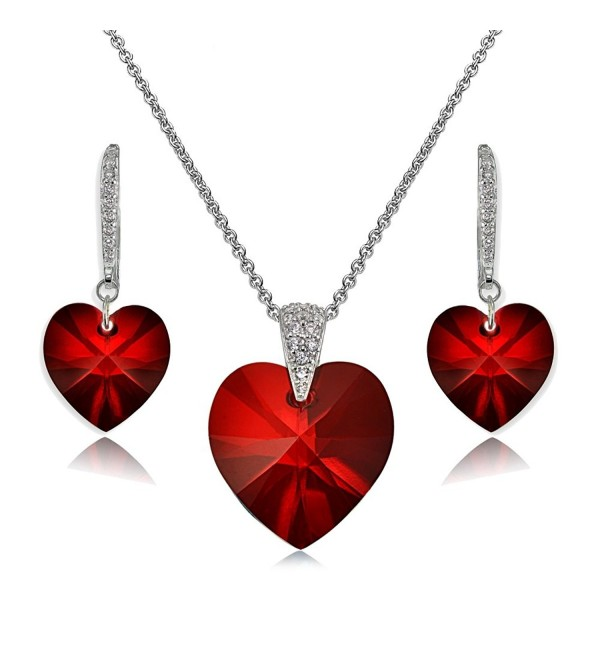 Sterling Silver Heart Necklace and Dangle Earrings Set Created with Swarovski Crystal - Red - CI189INE3HL
