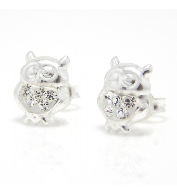 "Pro Jewelry .925 Sterling Silver ""White Crystal Owl"" Stud Earrings for Children & Women ECCN OW 10 - CJ11JGCI4LH"