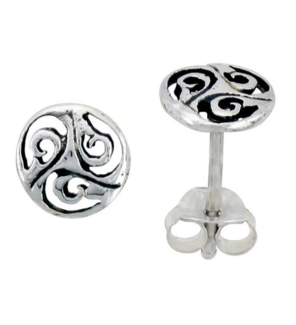 Sterling Silver Celtic Triskelion Stud Earrings- 1/4 inch - CC111VPMYFJ