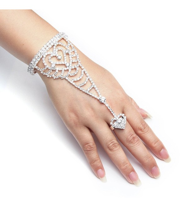 YUXI Silver Wedding Bride Hand Harness Latin Dancer Austria Crystal Bangle Finger Ring Free Size (Style 4) - CV183G6LHKD