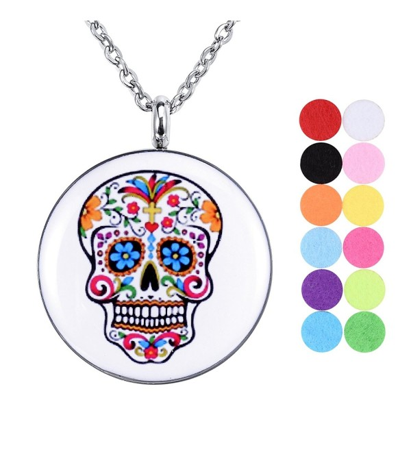 Essential Oil Diffuser Necklace Aromatherapy Locket Skull Head Pendant with 12 Refill Pads - C9184X99K7C