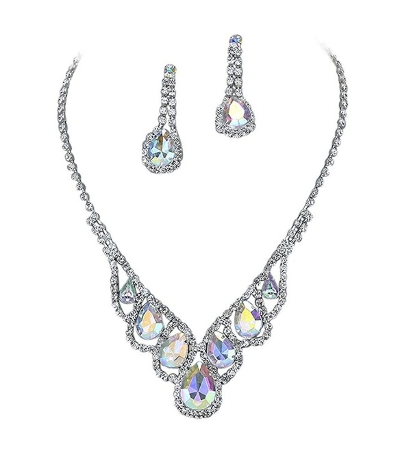 Purplebox Fashion Jewelry Iridescent Ab Droplets Rhinestone Prom Necklace Set - C7122Y6LR2J