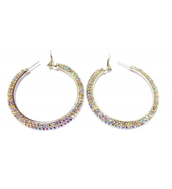 Crystal Iridescent Silver Double Rhinestone Paved Hoop Earrings 2.25 inch Hoop Earrings - CQ12GC5P7YR