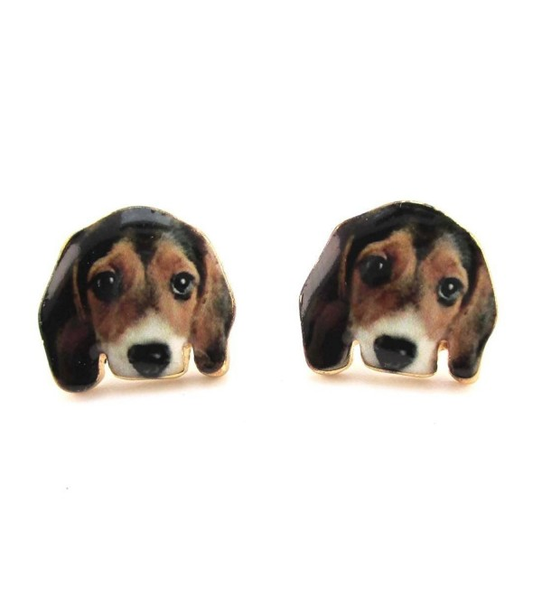 Daisies Beagle Puppy Face Portrait Shaped Stud Earrings Animal Jewelry for Dog Lovers - CM17Z6I6QXD