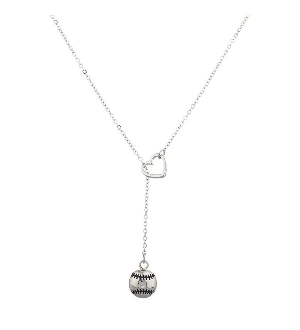 Lux Accessories Silvertone I Love Baseball Open Heart Sports Y-Shape Necklace - C912IEYE8ZN