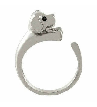 Enhanced Puppy Dog Animal Wrap Ring White Gold-plated Shiny Silver Tone - CN11DZ0R0OD