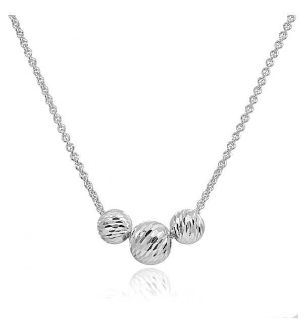 Sterling Silver Diamond-Cut Sliding Beads Necklace - 8 and 10mm - Silver - CE1883W5EM6