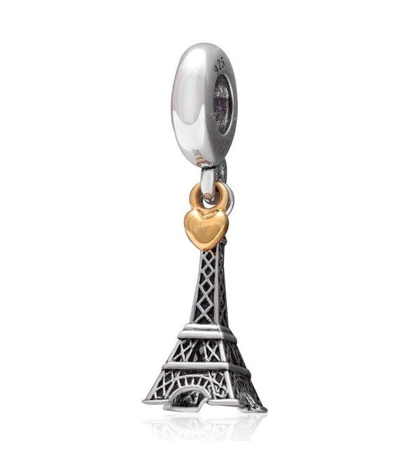 Choruslove Paris Eiffel Tower Travel Charms with Golden Heart for European Bracelet - CY128RPR8G5