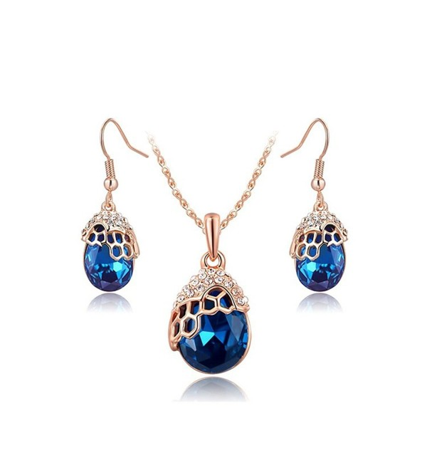 O4U Water Drop Genuine Austrian Blue Crystals Jewelry Set Rose Gold Plated Necklace Earrings Sets - C112B61I3N9