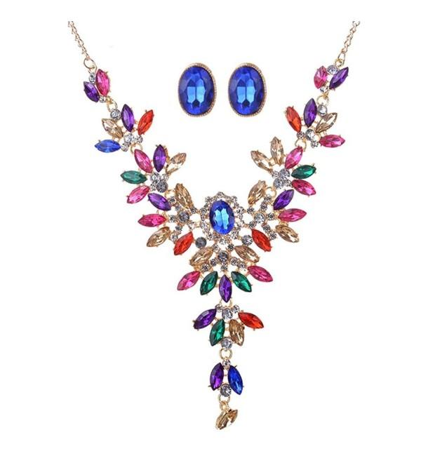 Women Fashion Crystal Necklace- Jewelry Statement Pendant Charm Chain Choker - CW182LW89DW
