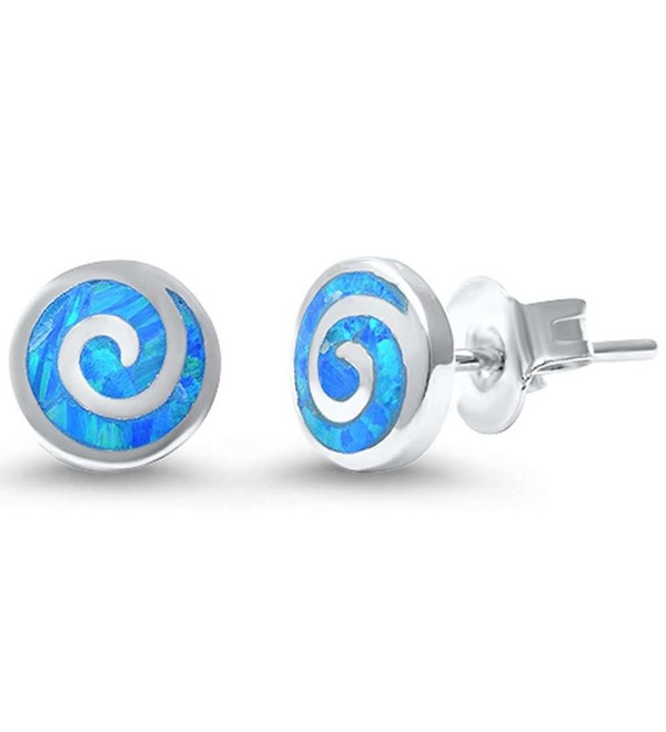 Round Spiral Swirl Stud Earrings Lab Created Opal 925 Sterling Silver Choose Color - Lab Blue Opal - CA17Z3AKCRZ