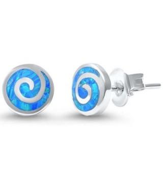 Round Spiral Swirl Stud Earrings Lab Created Opal 925 Sterling Silver Choose Color - Lab Blue Opal - CA17Z3AKCRZ