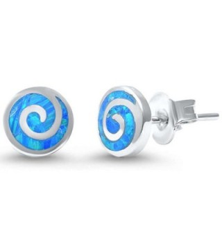 Spiral Earrings Created Blue Sterling in Women's Stud Earrings